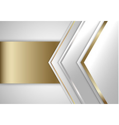 Abstract white and grey triangles with gold vector