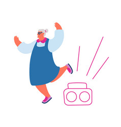 active old woman dance leisure or hobby cheerful vector image