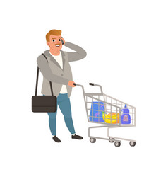 Adult man standing with shopping cart and talking vector