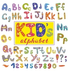 Alphabet in kid style with letters hand vector