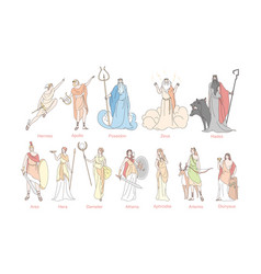 Ancient greek gods set concept vector