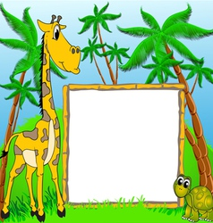 background giraffe and terrapin on background of t vector image