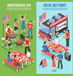 Barbecue 4 july banner set vector