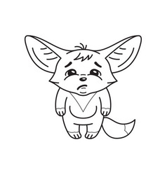 Black and white a funny fennec fox who looks vector