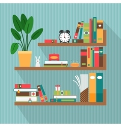 books on bookshelves vector image