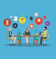 business meeting concept in flat design vector image