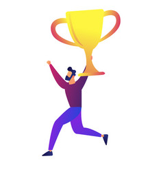 businessman holding a big trophy cup vector image