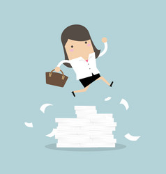 businesswoman or manager jumping over obstacles vector image