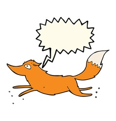 Cartoon fox running with speech bubble vector