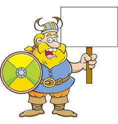 Cartoon viking holding a sign vector image