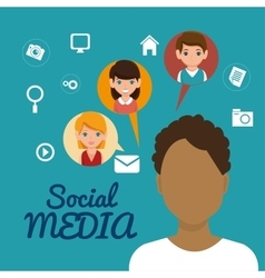 Character man friendship social media vector