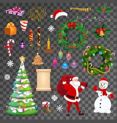 christmas holiday objects and characters vector image