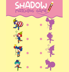 Circus shadow matching game template vector