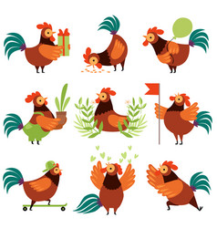 collection colorful roosters in different vector image