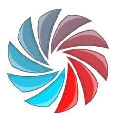 Colorful circular spiral icon cartoon style vector image