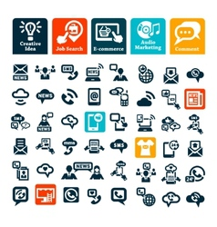 Communication web icons set vector