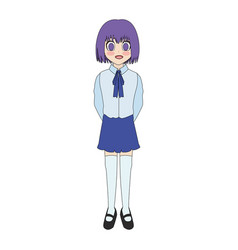 cute anime or manga girl icon image vector image
