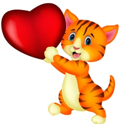 Cute cat with heart love vector
