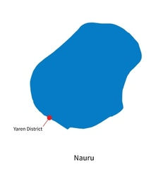 Detailed map of Nauru and capital city Yaren vector