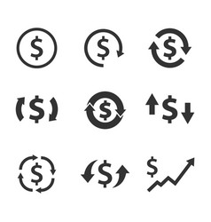 Dollar exchange icon set currency convert vector