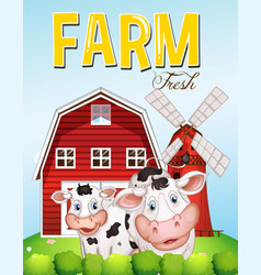 Farm scene with two cows vector