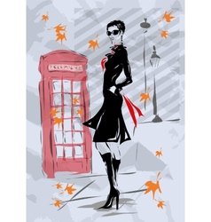 Fashion woman in London vector image