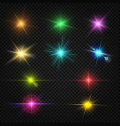 festive color lens flare light effects party vector image