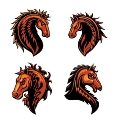 Fire horse mascot of flaming wild mustang vector