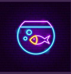 Fish aquarium neon sign vector