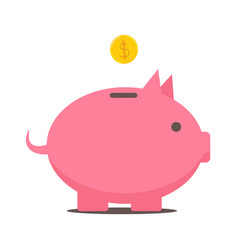 Flat style piggy bank icon vector
