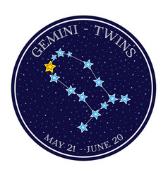 Gemini zodiac constellation in space round icon vector