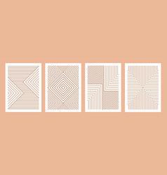 geometric minimal prints set mid century modern vector image