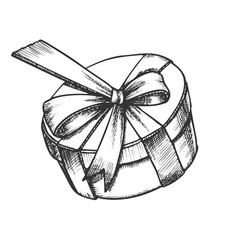 gift box in round shape with ribbon retro vector image