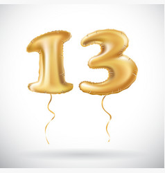 golden number 13 thirteen made of inflatable vector image