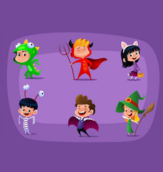 group of kids in halloween costume cartoon vector image
