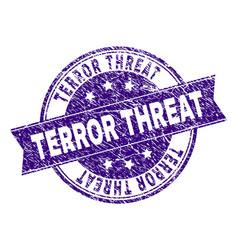 grunge textured terror threat stamp seal vector image