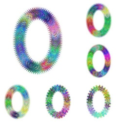 Happy colorful fractal font set - letter O vector image
