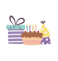 Happy day cake with gift box and party hats vector