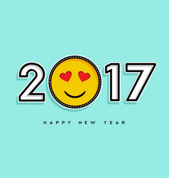 Happy new year 2017 stitch patch icon card design vector