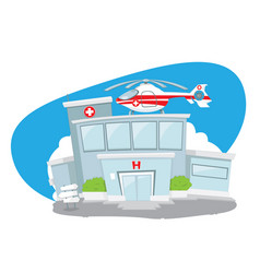 hospital building with helicopter on its roof vector image