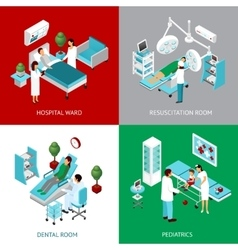Hospital Departments 4 IsometricIcons Square vector