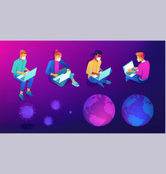 Isometric distance working social isolated people vector