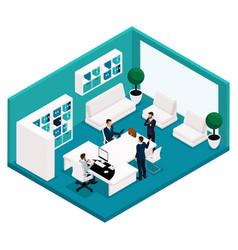 isometric office manager rear view coaches vector image