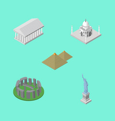 Isometric travel set of egypt england india vector