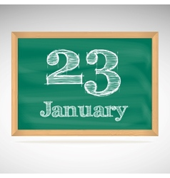 January 23 inscription in chalk on a blackboard vector
