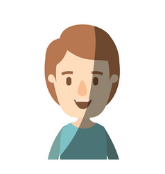 Light color shading caricature half body boy with vector