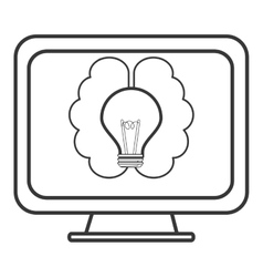 Lightbulb and brain on computer screen icon vector
