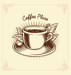 logo coffee label drawing traditional vector image