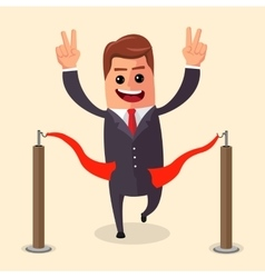 manager or businessman at finish line A vector image