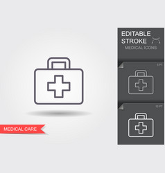 medical bag line icon with editable stroke with vector image